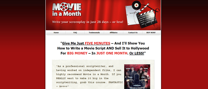 Movie in a Month website screenshot showing a red background gradient with copy about writing a movie script in a month or less.