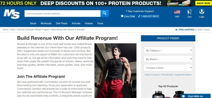 screenshot of the affiliate sign up page for Muscle & Strength