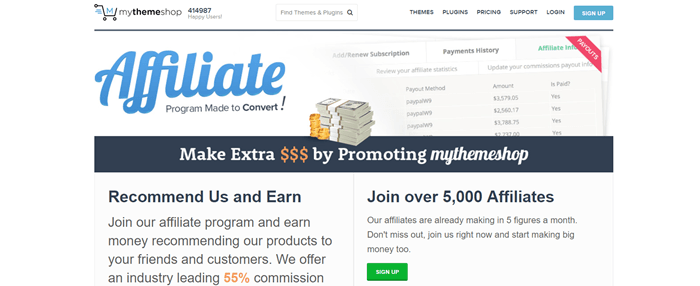 My Theme Shop website screenshot showing an image of payment history and talking about how people can earn by promoting the service.