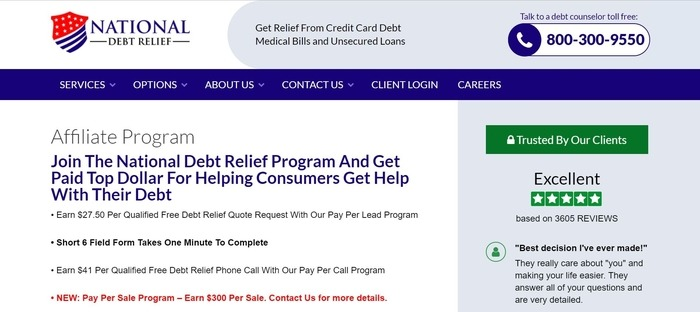 screenshot of the affiliate sign up page for National Debt Relief