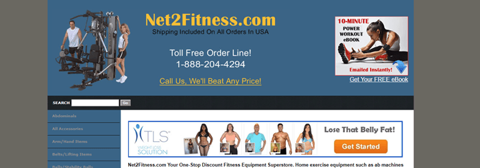 Net2Fitness.com website screenshot showing a blue background and one of the machines from the company with some models.