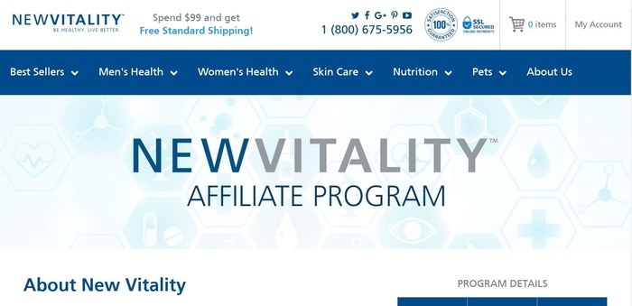 screenshot of the affiliate sign up page for New Vitality