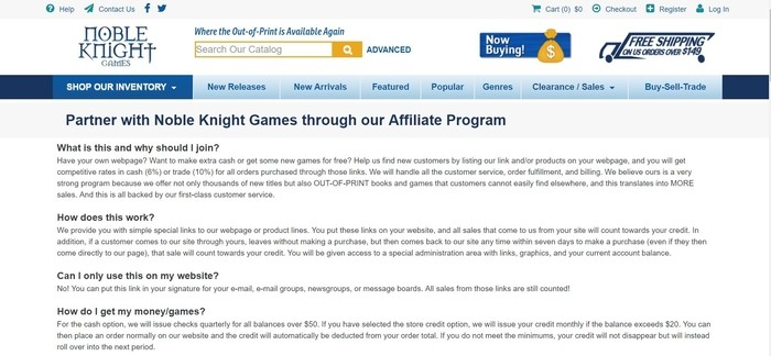 screenshot of the affiliate sign up page for Noble Knight Games