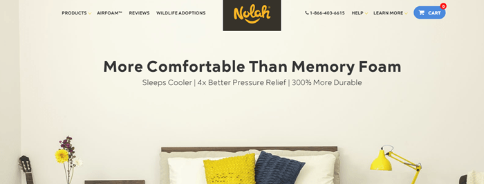 Nolah Sleep website screenshot showing the top of a bed against a cream wall.