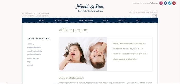screenshot of the affiliate sign up page for Noodle & Boo