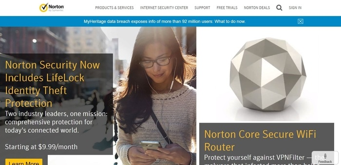 screenshot of the affiliate sign up page for Norton by Symantec