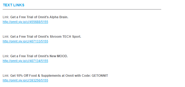 Onnit Text Links