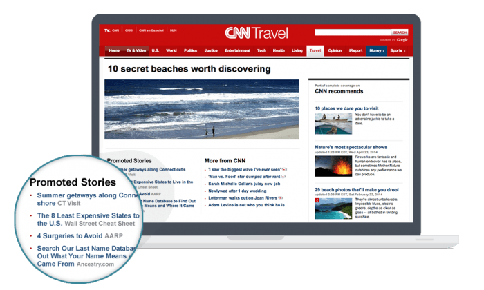 """A CNN Travel article with a widget at the bottom displaying """"Promoted Stories"""" that were advertised via Outbrain. Each story appears with a linked title and the name of its publisher."""