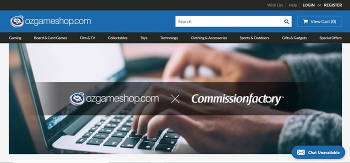 screenshot of the affiliate sign up page for ozgameshop.com