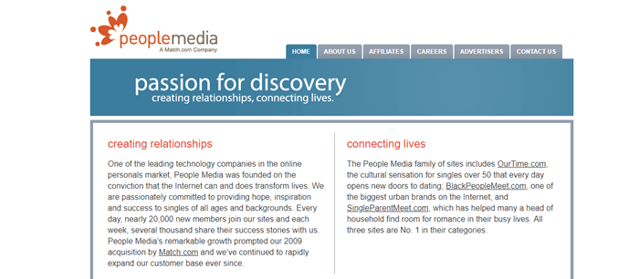 People Media website screenshot showing details about creating relationship and connecting lives.