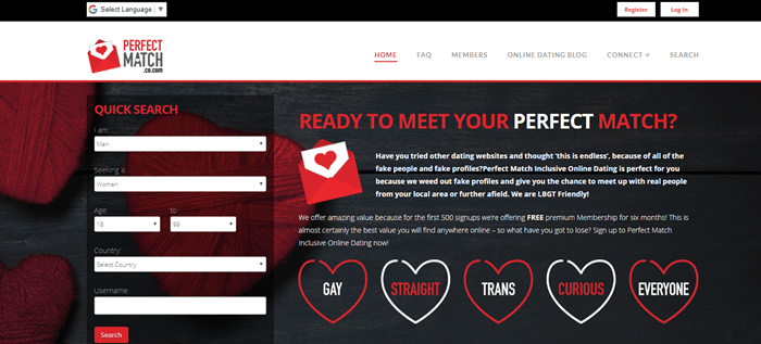 Perfect Match website screenshot showing a black background with red yarn hearts. Text overlaying the image talks about meeting your match.