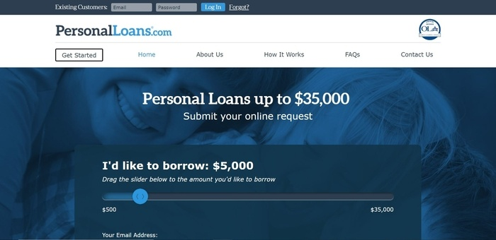 screenshot of the affiliate sign up page for Personal Loans