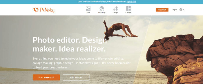 PicMonkey website screenshot showing a man diving off a rock into the ocean.