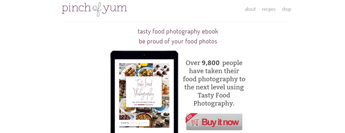 Pinch of Yum Tasty Food Photography website screenshot showing a vertical tablet with an image of the cookbook.