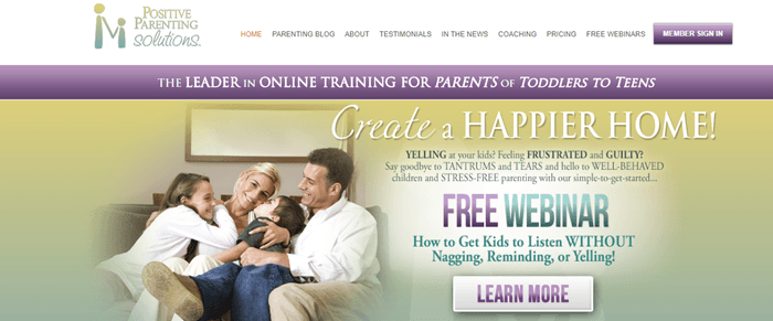 Positive Parenting Solutions website screenshot showing a young family sitting on the counch. There is various pieces of text talking about having a happier home.