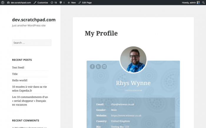 A user's profile showing the person's name, profile picture, and personal information. In the sidebar on the left, the user's email address and his most recent posts and comments are listed.