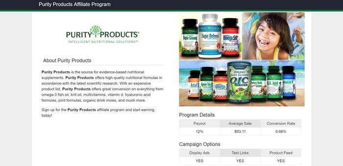 screenshot of the affiliate sign up page for Purity Products
