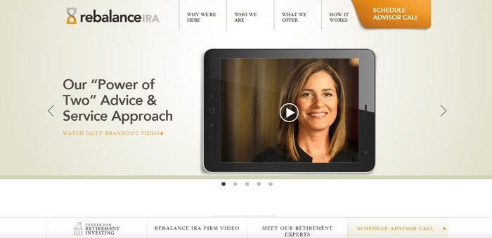screenshot of the affiliate sign up page for Rebalance IRA