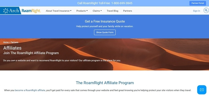 screenshot of the affiliate sign up page for RoamRight