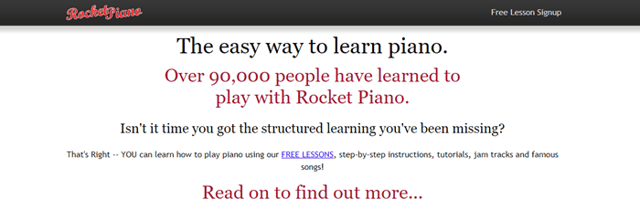 Rocket Piano website screenshot with a white background and text that talks about learning to play the piano.