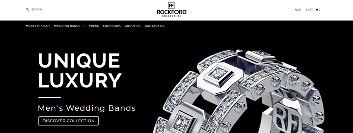 Rockford Collection website screenshot with a black background, showing one of the unusual and customized rings from the company.