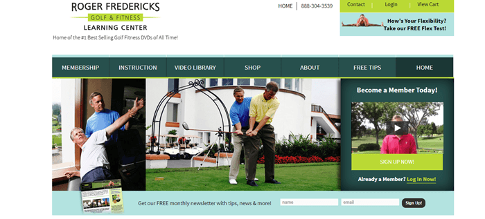 Roger Fredericks Golf & Fitness website screenshot showing two images of a trainer helping people with golf and the still from an image.