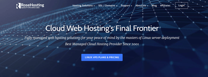 Rose Hosting website screenshot showing a blue technical-like background with white text about Cloud Web Hosting.