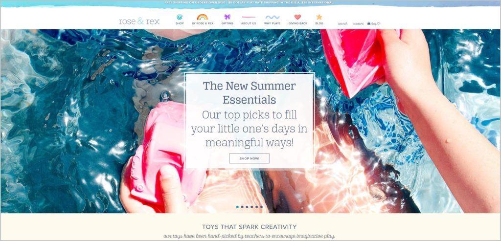 screenshot of Rose & Rex web page