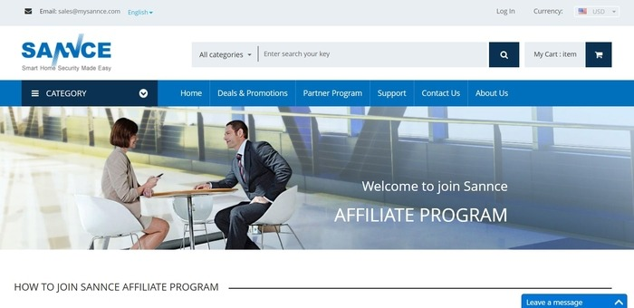 screenshot of the affiliate sign up page for SANNCE