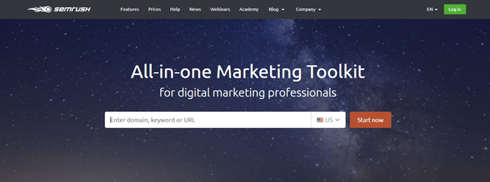SEMrush website screenshot showing a starry background, with white text that promotes the SEMrush marketing toolkit.