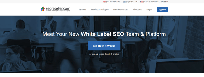 SEOreseller.com website screenshot with a background image of people working in an office.