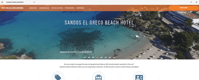 Sandos Hotels & Resorts website screenshot showing a top down image of a beach and surrounding landscape.