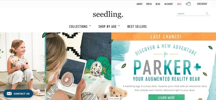 screenshot of the affiliate sign up page for Seedling