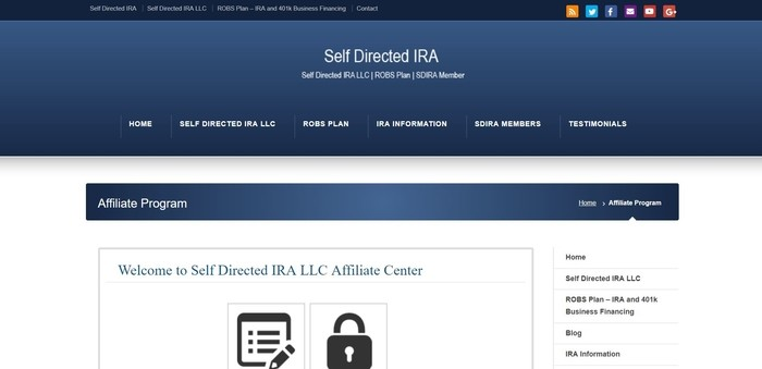 screenshot of the affiliate sign up page for Self Direct IRA