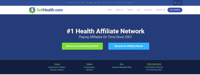 Sell Health website screenshot showing a blue background, with two buttons and claims about the size of the network.