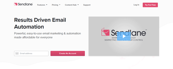 Sendlane website screenshot showing details about results driven automation and a video still from the company.