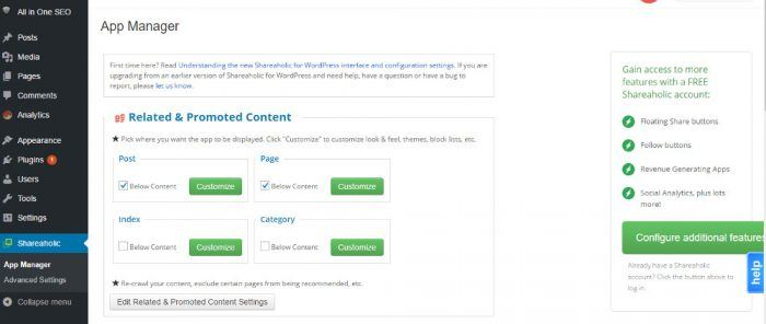 """The Shareaholic app manager inside the WordPress dashboard. In the middle of the page is a box titled """"Related & Promoted Content"""" with mini-widgets for post, page, index, and category. Each of these has a checkbox and a """"customize"""" button."""