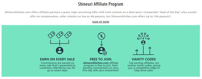 Shineuri Kitchen Affiliate Program showing details about earning on a lime green background
