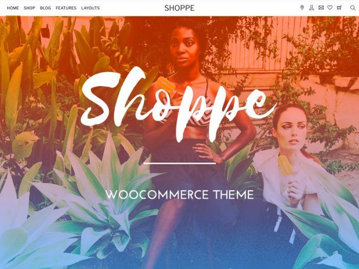 The Shoppe homepage with a navigation menu at the top and the brand name written at its center. The body is a background image with the brand name written on it followed by a brief text. On the top right are icons for location, messaging, favorites, shopping cart, etc.
