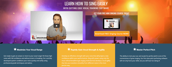 Singorama website screenshot showing a background image of a concert, with various details about the service and a video of a young woman.