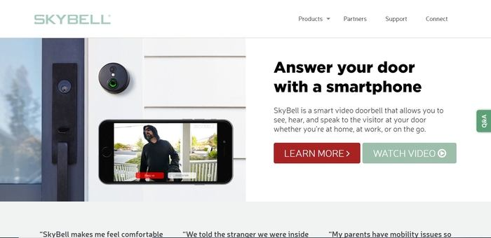 screenshot of the affiliate sign up page for SkyBell