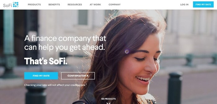 screenshot of the affiliate sign up page for SoFi
