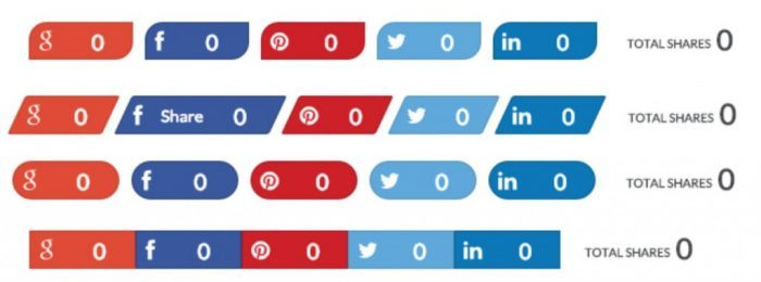 Four rows of social sharing buttons. The four rows are repetitions of the same buttons with different styling (Google+, Facebook, Pinterest, Twitter, and LinkedIn). Each row appears with a total shares figure next to it.