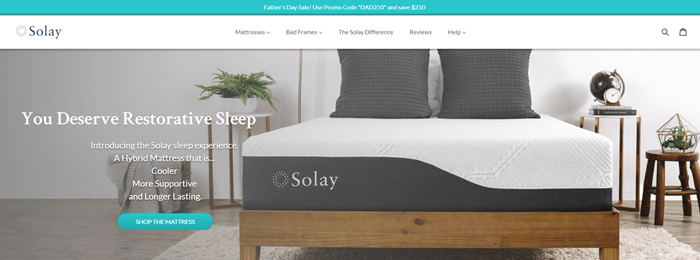 Solay Sleep website screenshot showing a mattress and pillows in a nice-looking room.