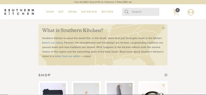 screenshot of the affiliate sign up page for Southern Kitchen