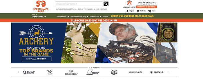 Sportsman's Guide website screenshot showing a hunter with a compound bow and arrows on a deer target.