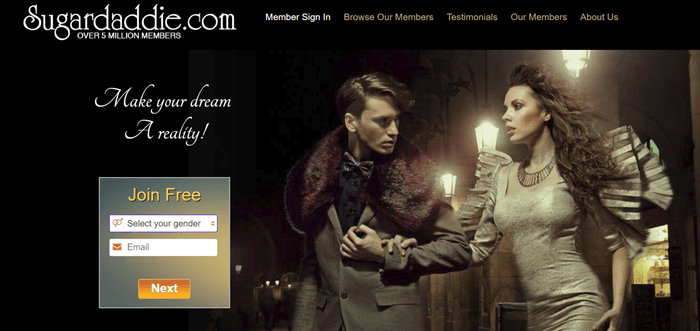 Sugardaddie website screenshot showing a posed image of a young man and image outside in somewhat old-fashioned clothing.