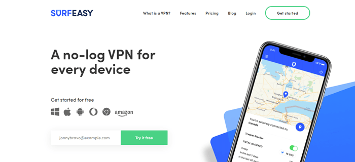 SurfEasy website screenshot showing a smartphone with a map, along with details about VPNs.