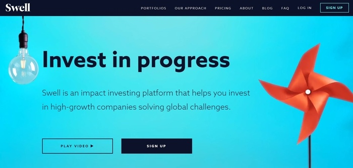 screenshot of the affiliate sign up page for Swell