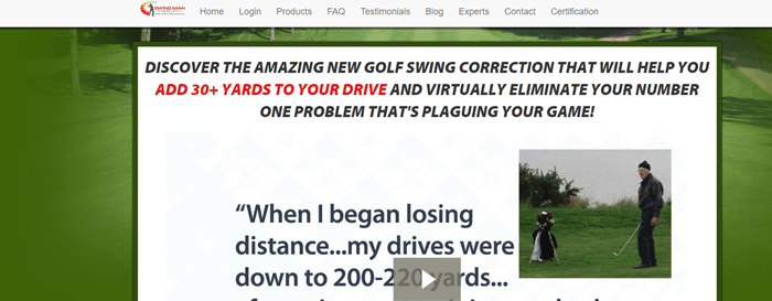 Swing Man Golf website screenshot showing a paused video that talks about how a golfer found that his drives were getting less powerful.